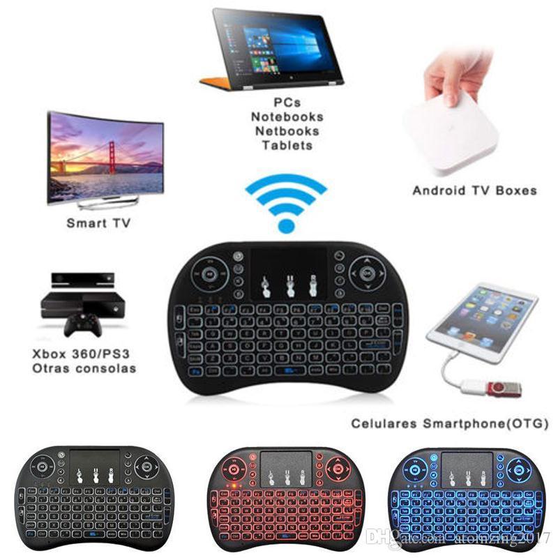 Air Mouse Combo 2.4G Mini i8 Wireless Keyboard, Touchpad combo con adattatore di interfaccia PC Pad Google Andriod TV Box Xbox360 PS3 OTG