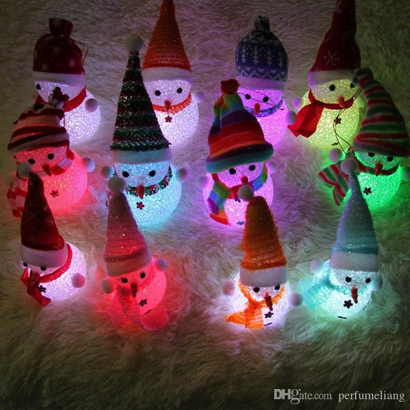 13cm Color Changing LED Snowman Christmas Decorate Mood Lamp Night Light Xmas Tree Hanging Ornament ZA4867