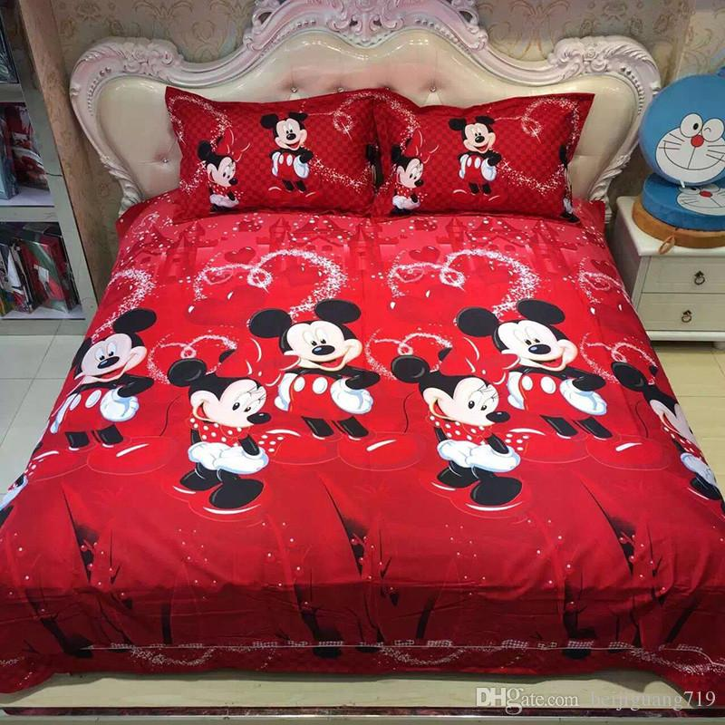 100 Cotton Bed Linen 3d Mickey Mouse Bedding Sets Minnie