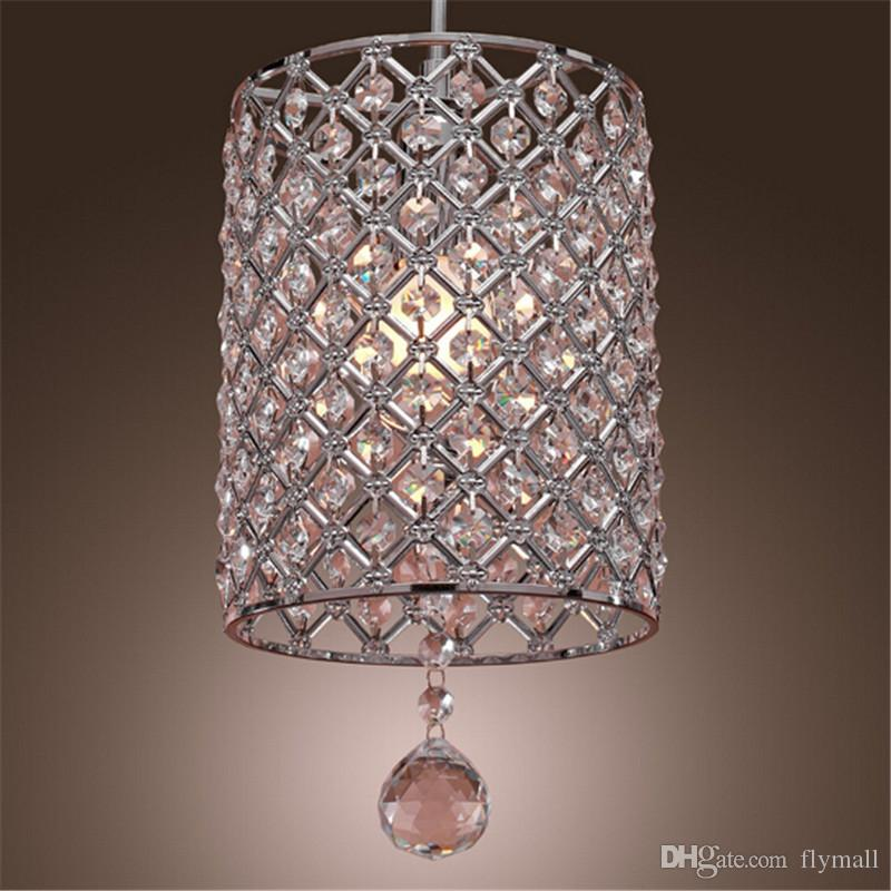 Single Head Contemporary Crystal Drop Pendant Light In Cylinder Style Chandelier Ceiling Bedroom Lamp Bar Vintage