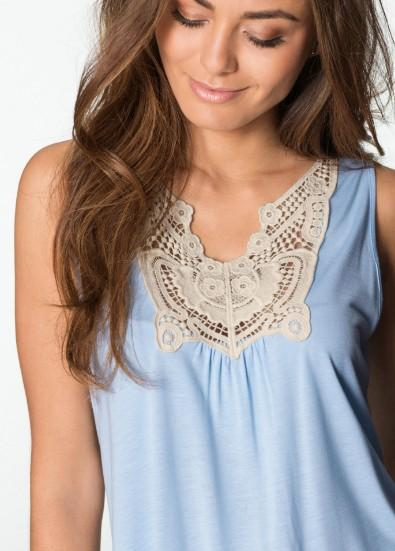 Fashion Womens Tops Cotton Blend Sleeveless Crew Neck Lace Panelled Solid Color Top Shirt T Shirt Blouses