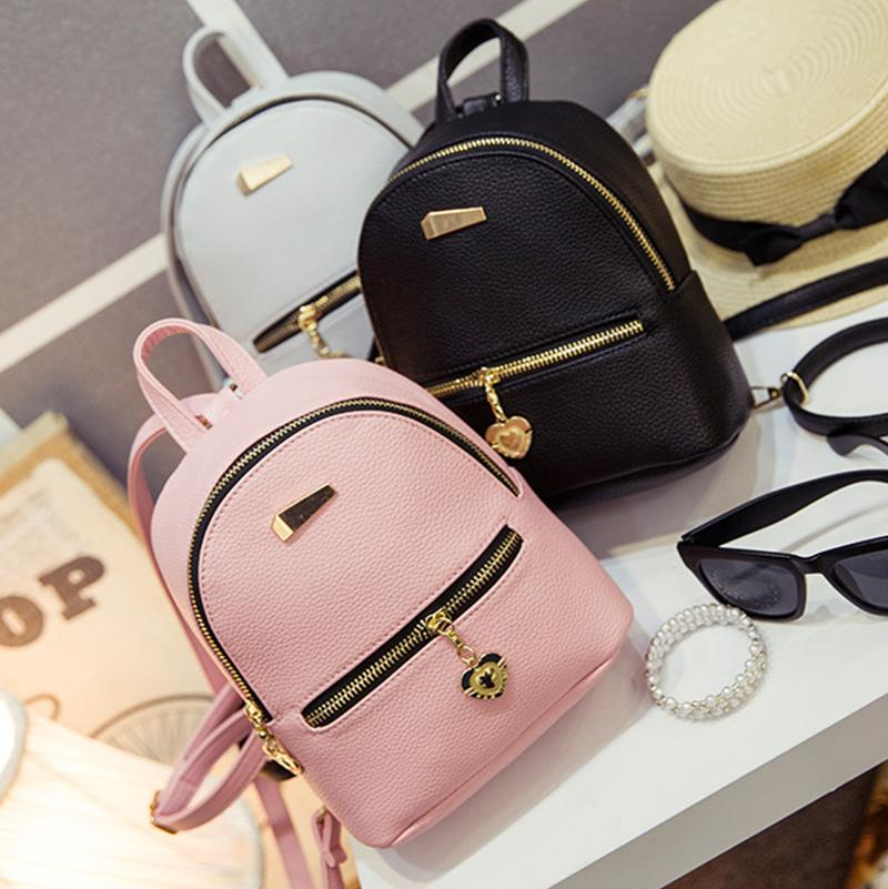 1a8063325d3 Wholesale- New Shoulder Bag Mini Backpacks Women Leather school bag women s  Casual style backpack purses bags for teenagers