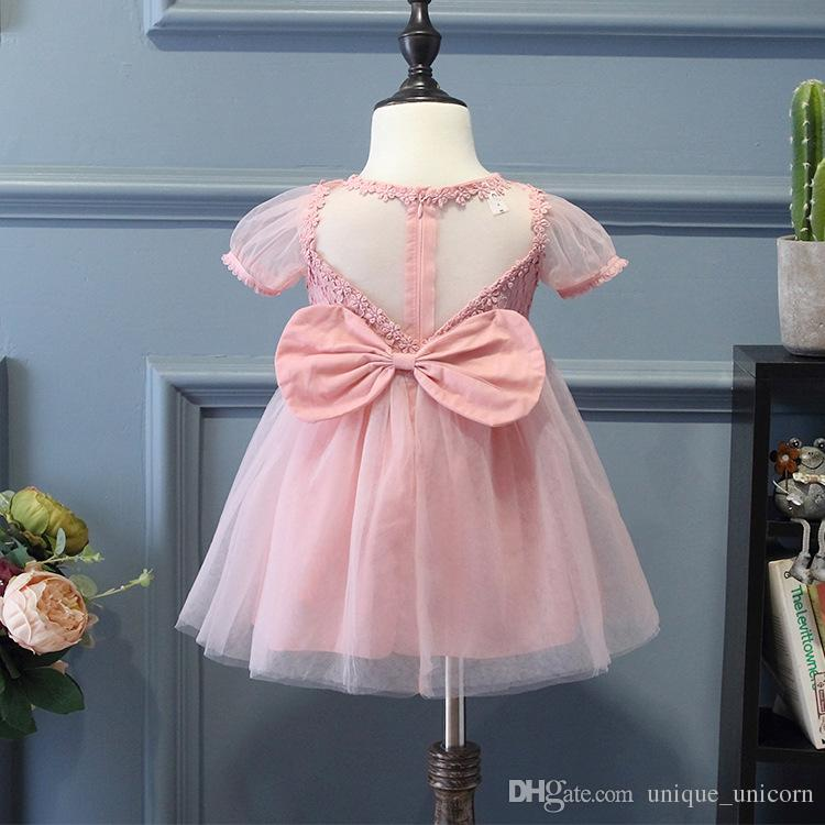 42589e38d1df Children Frocks Designs Girls Lace Puff Sleeve Dresses Sweet Girl Bowknot  Princess Dress Birthday Party Formal Dress Baby Girl Summer Lace Dress Kids  Girl ...