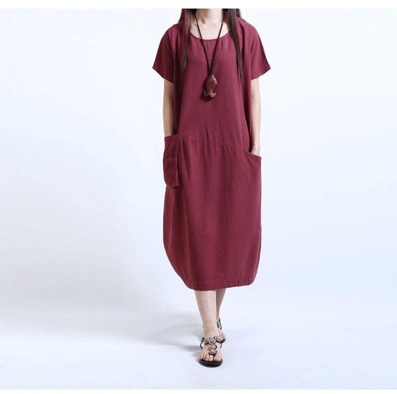 Gros Femmes Robes Casual Femmes Coton Linge À Manches Courtes Longue Lâche Maxi Dress Robe De Sol Vêtements