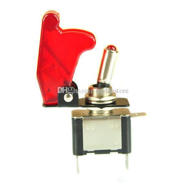 12V Car Red LED Light Illuminated Cover SPST Toggle Switch Control B00387