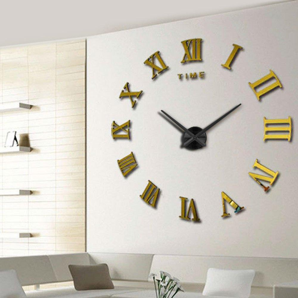 Whole Wall Clock Large Decorative Modern Design 3d Mirror Sticker Metal Big Watches Roman Numeral Scales Home Decor Clocks