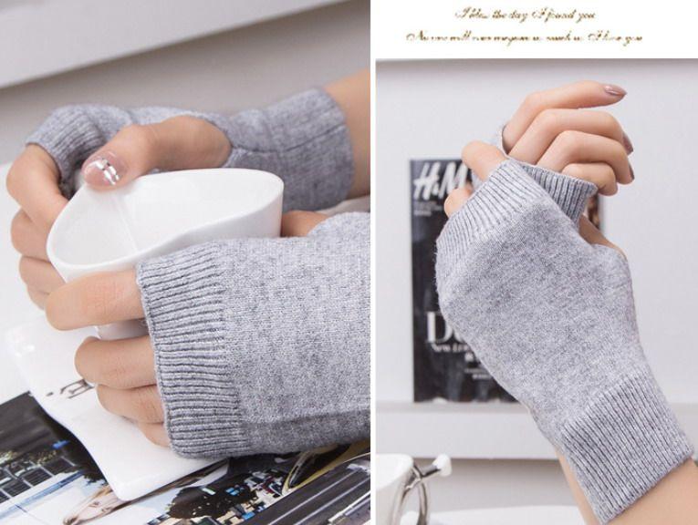 2017 feste Frauen Mädchen fingerlose Wolle Polyester Mischung Handschuhe Herbst Winter / # 4044