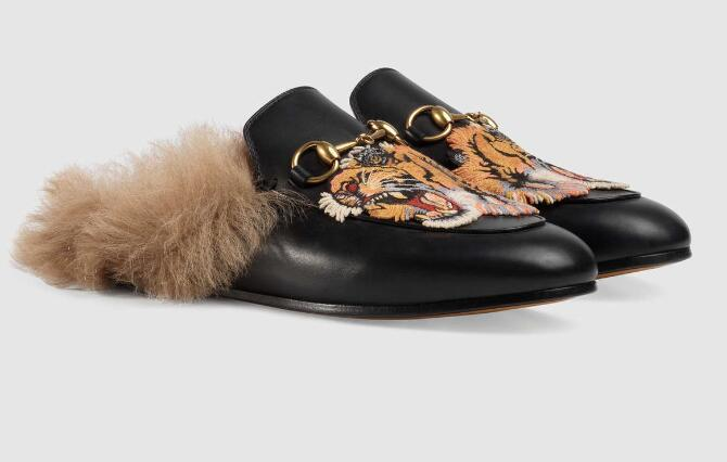 Women Bee Blooms Snake Head Feline Loafers Sneakers Dress Shoes embroidered tiger fur lining leather slipper 397749