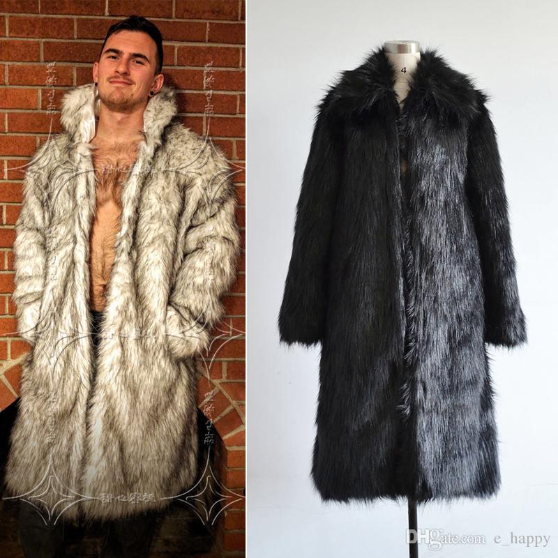 2018 Fashion Faux Fur Long Coat For Men Lapel Neck Long Sleeve ...