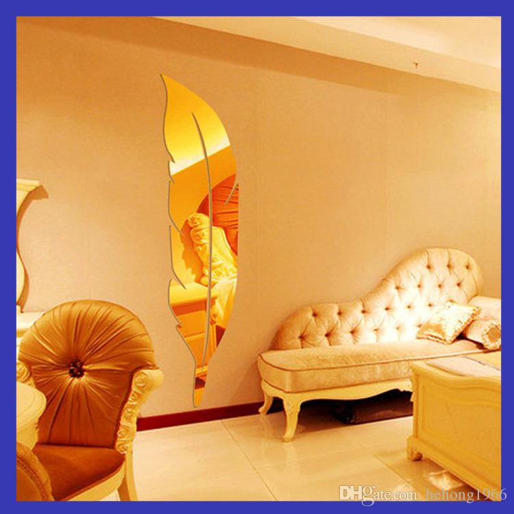 Adesivi murali specchio 3D pittura murale acrilico specchi piano soggiorno camera da letto pasta piuma piuma decorazione stile europeo minuto 13