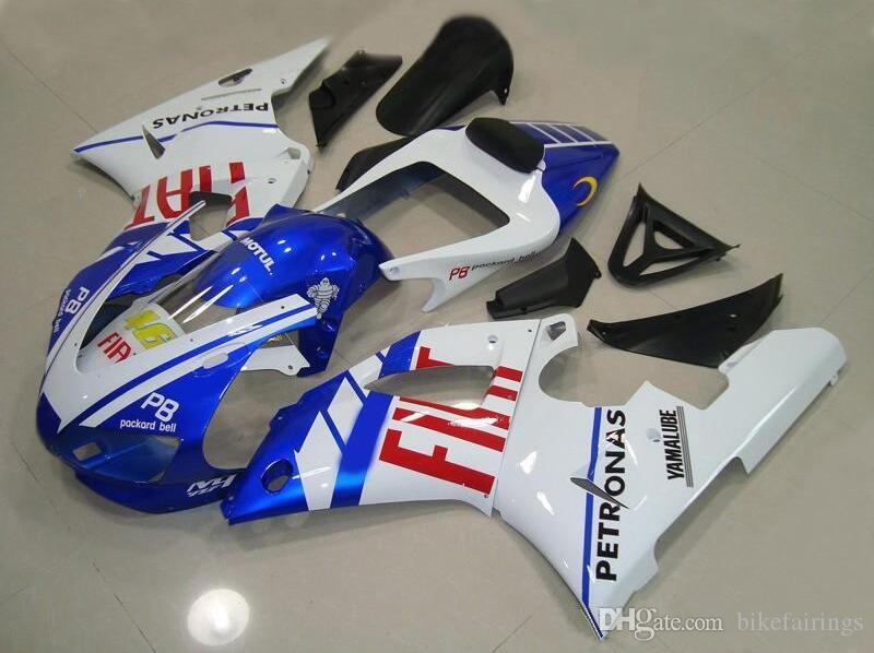 Three free beautiful gift and new high quality ABS Injection fairing plates for YAMAHA YZF-R1 YZFR1000 1998 1999 very blue red FIAT