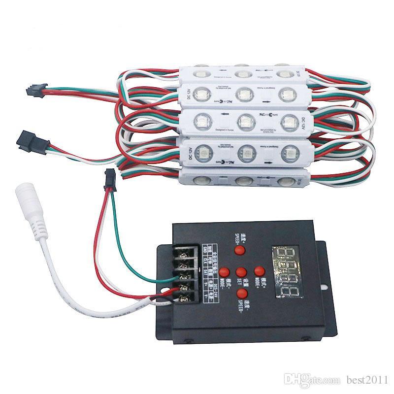 WS2811 2811 ic 3led 5050 rgb led بكسل وحدة نمطية سلسلة ضوء ماء dc 12 فولت + 1 قطع مجانية T-500 وحدة تحكم بالألوان الكاملة