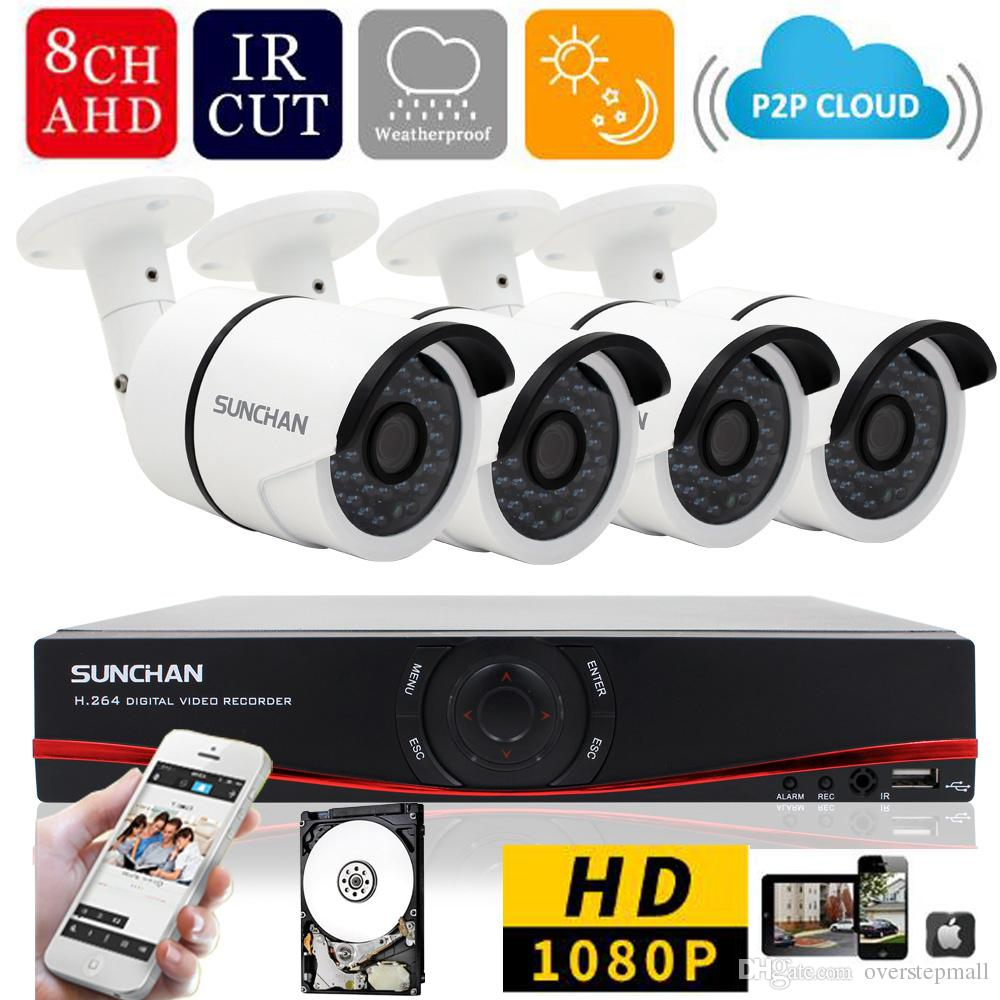 8 Channel AHDH Security Camera System 8CH DVR 4PCS 1080P CCTV Camera Home Surveillance System Cameras 1TB HDD