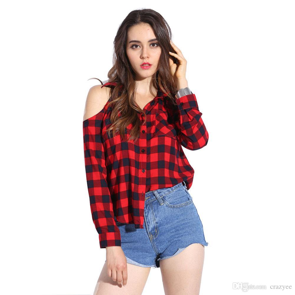 2018 Plaid Blouse Cold Shoulder Women'S Sexy Checked Shirts Red ...