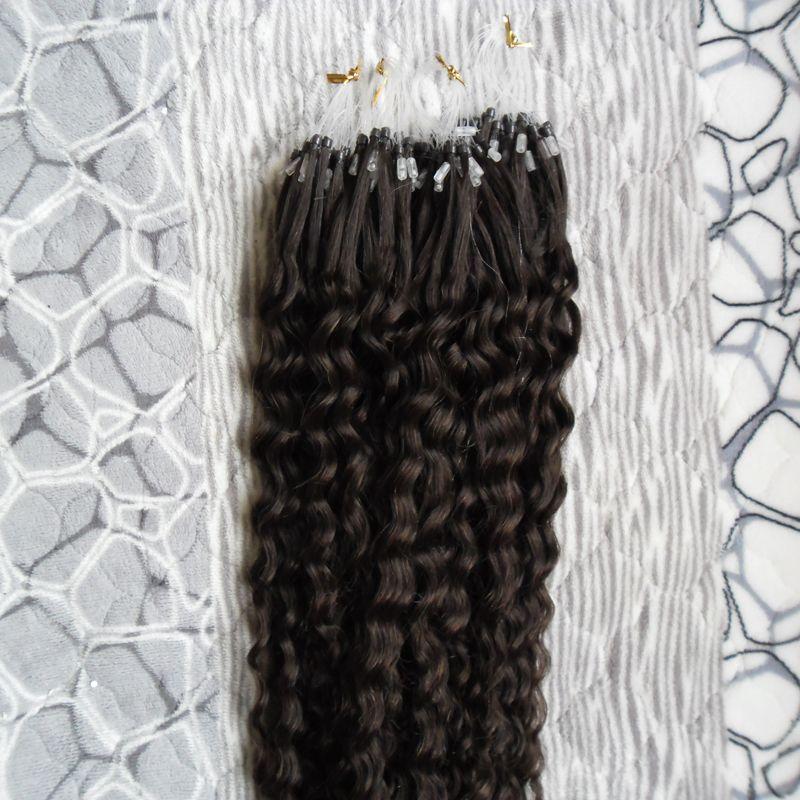 Vernie vierge brésilienne Micro-boucle Extensions de cheveux humains 100g Kinky Curly Micro Loop Extension de cheveux EXTENSION MICRO