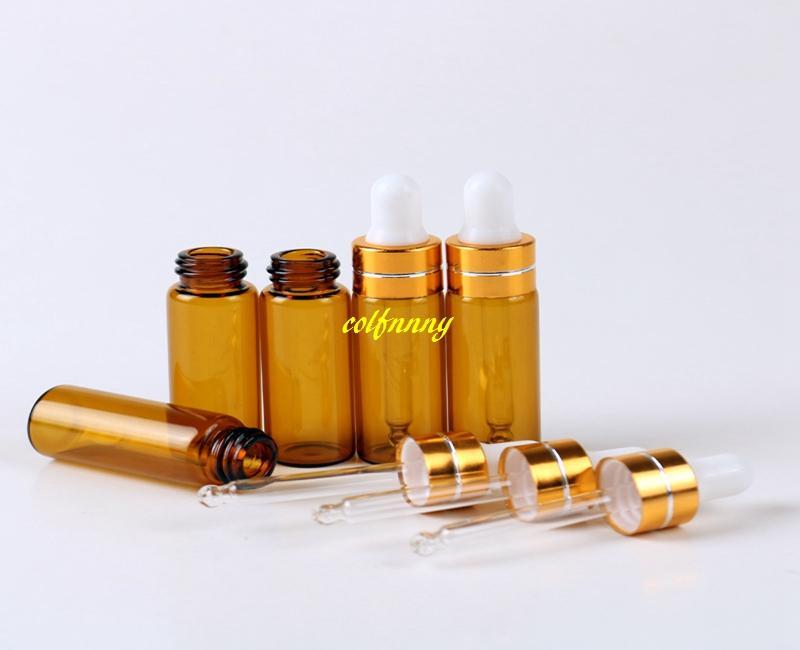 / 무료 배송 3ml 5ml 앰버 유리 dropper 병 에센셜 오일 튜브 작은 향수 분명 샘플 테스트 병