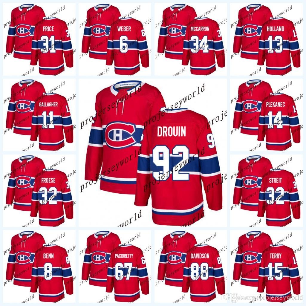 cf6cbe323 92 Jonathan Drouin Montreal Canadiens2017-2018 Season Jerseys 31 Carey  Price 6 Shea Weber 11 Brendan Gallagher Hockey Jerseys Jonathan Drouin  Jersey ...