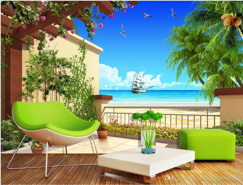 Sea view balcony balcony view 3d tv wall mural 3d for Balcony view wallpaper