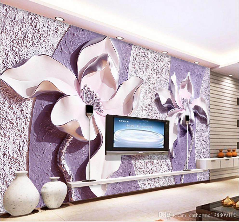 Embossed Purple Magnolia 3d Tv Background Wall Mural 3d Wallpaper