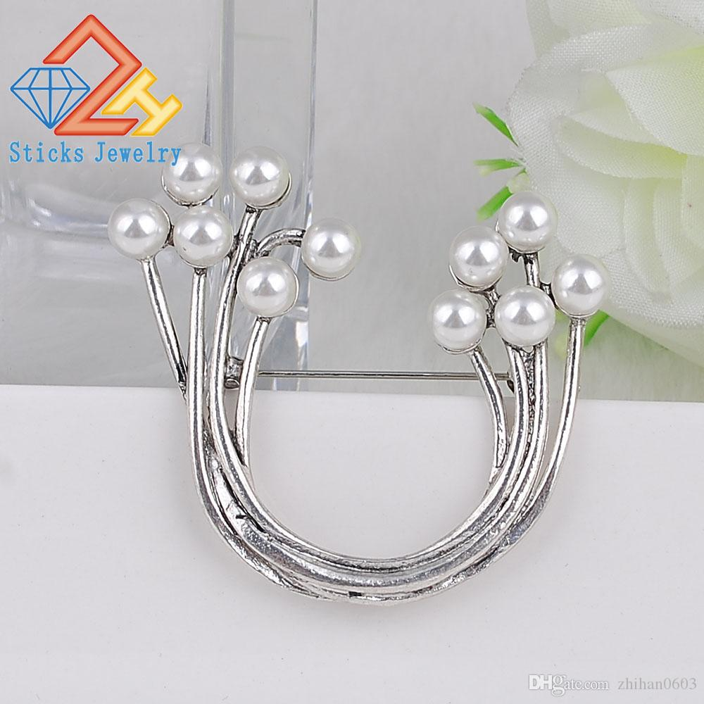 Plating silver U Shape Safety Pins Accessories Simulated Pearl Brooches For Women Vintage Metal Jewelry