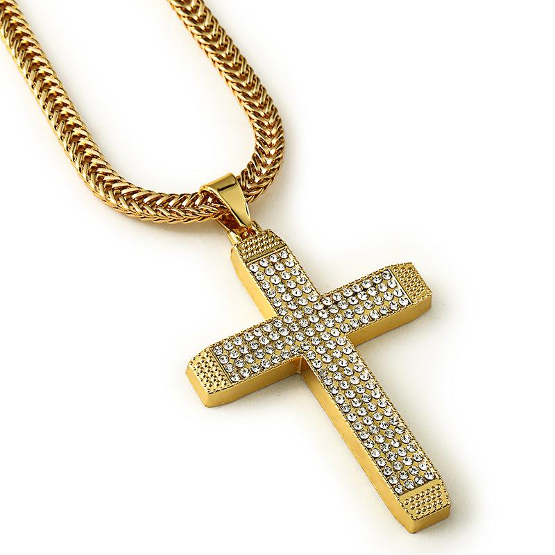 Wholesale fashion gold men necklace cross pendant long chain for wholesale fashion gold men necklace cross pendant long chain for womenmen statement necklace pendant hip hop bling jewelry for gift pendants for necklaces aloadofball Choice Image