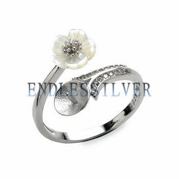 Paramètres de bague White Shell Flower Argent Sterling 925 Résultats de bijoux de bricolage Montage de perles pour Pearl Party