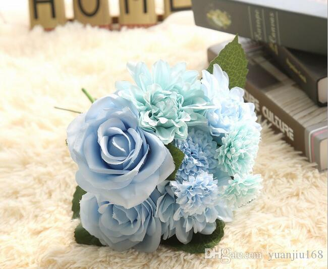 Silk flower wedding bouquet roses dahlias Artificial flowers fall vivid fake leaf wedding flower bridal bouquets decoration HJIA1193