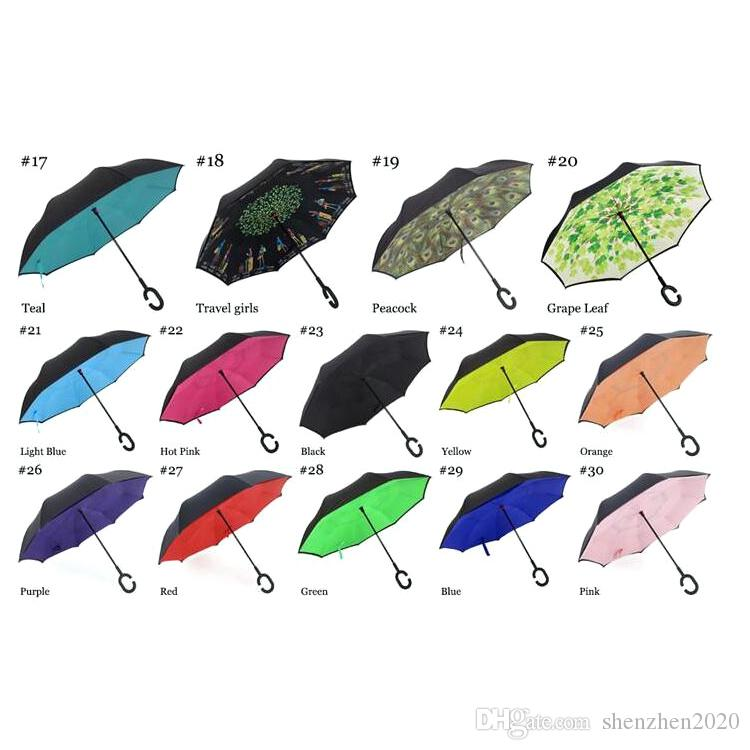 2017 Haute Qualité Coupe-Vent Pliant Double Couche Inversé Chuva Parapluie Self Stand À L'envers Protection contre la Pluie C-Crochet Mains