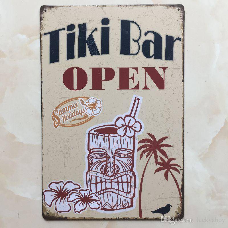 TIKI BAR ABERTA sinal de lata Vintage home Bar Pub Hotel Restaurante Coffee Shop casa Decorativo Metal Retro Metal Poster Placa de Lata
