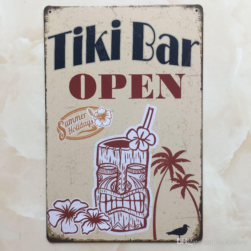 TIKI BAR OPEN tin sign Vintage home Bar Pub Hotel Restaurant Coffee Shop home Decorative Metal Retro Metal Poster Tin Sign
