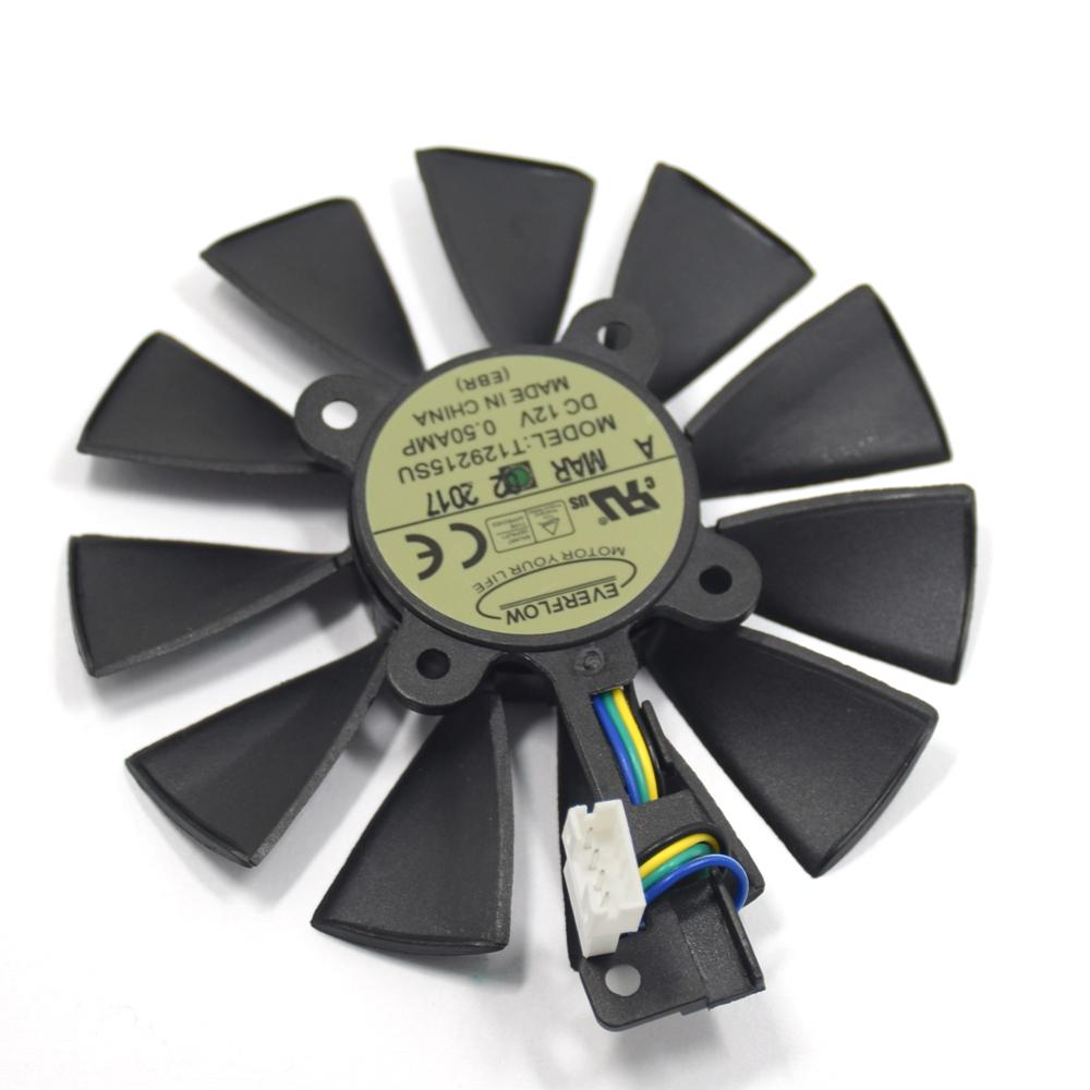 Wholesale- New everflow Cooler Fan Replacement For ASUS strix RX470 RX460  GTX980Ti R9 390 390X GTX 1070 1080 Graphic Card Cooling Fan