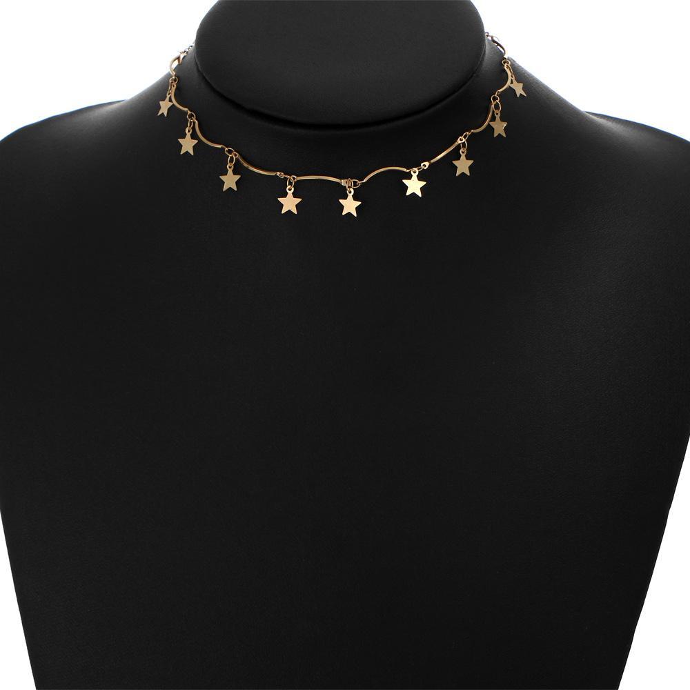 cd5a605f36b9 Compre Moda Oro   Color Plata Little Star Colgante Collar Corto Gargantilla  Única Para Mujeres Por Hcish Jewelry HC0006 A  4.43 Del Hcish