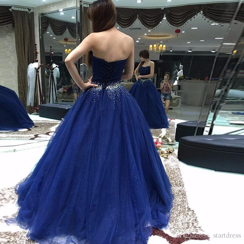 Beautiful Royal Blue Ball Gown Prom Dresses Puffy Beaded Organza Long Crystal Sweet 16 Holiday Summer Dresses Evening Wear Lace up Back 2018