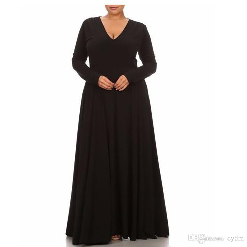 moda europeus cor sólida sexy V-neck mangas compridas vestido solto branco, preto, azul suporte lote misto vermelho