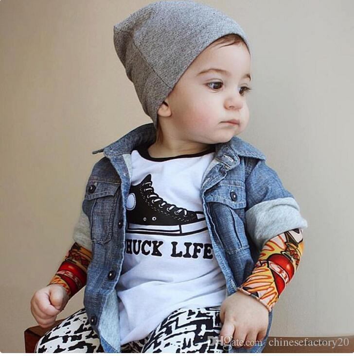 Fashion Baby Long Sleeve T-shirts Tattoo Letter Clothing Hip Hop Style Long Sleeve INS Toddler Patchwork Clothes
