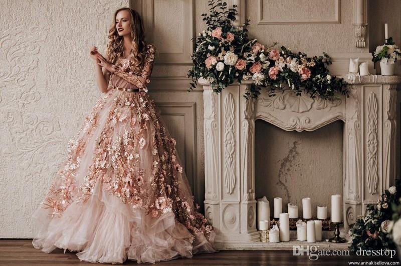 Vestidos de noche de lujo de un hombro mangas largas Elie Saab vestido formal Un piso de línea de longitud 3D Appliqued Runway vestido de moda con fajas