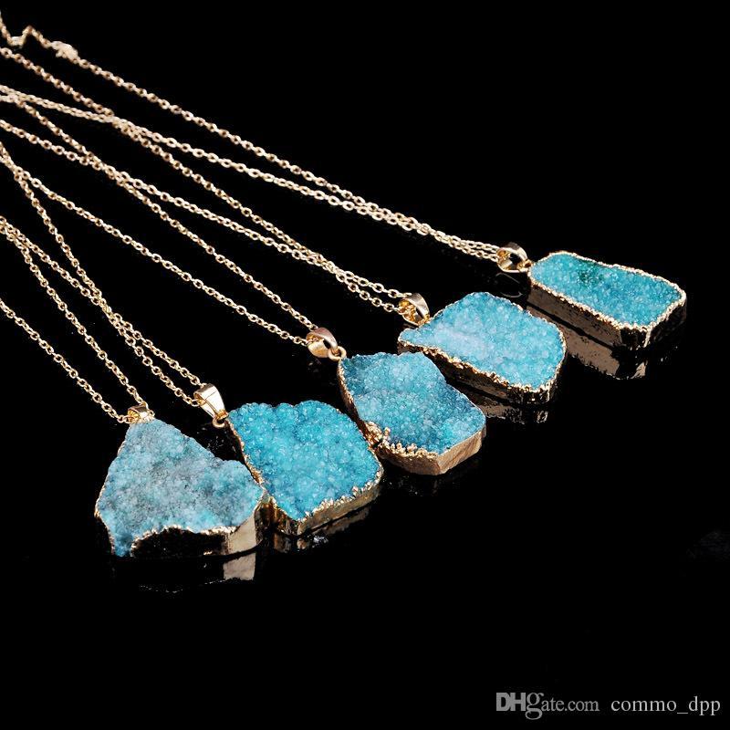 Venda quente Irregular Colares de pedra Natural de quartzo Cristal Druzy Ponto de Cura Chakra Bead Gemstone Pingente Para mulheres Bijuterias em Massa