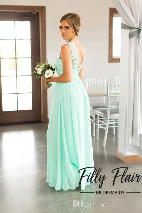 뜨거운 판매 2019 민트 그린 레이스 탑 시폰 스커트 국가의 들러리 드레스 긴 백사장 층 길이 웨딩 파티 가운 EN9201