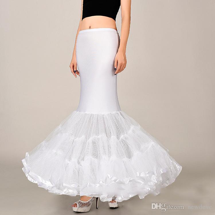 Venta al por mayor suave sirena Crinolina enagua tamaño libre blanco nupcial antideslizante escalable volantes accesorios de boda en stock