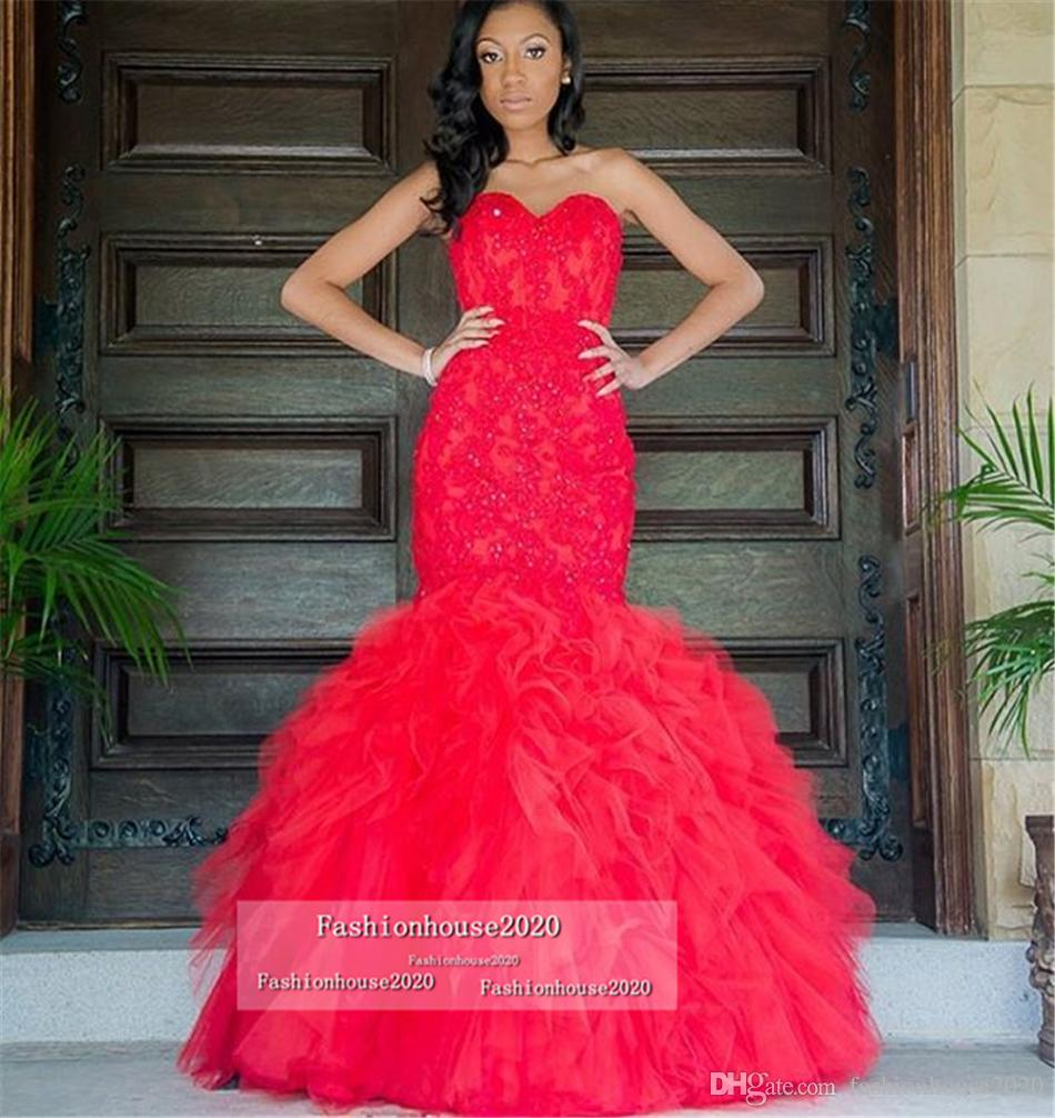 Sexy Long Red Prom Dresses Mermaid Sweetheart Appliques Tiered Skirt African Prom 2018 Plus Size Beaded Formal Evening Dress Party Gowns
