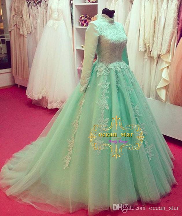 compre 2017 vestidos de novia de cuello alto una línea de mangas