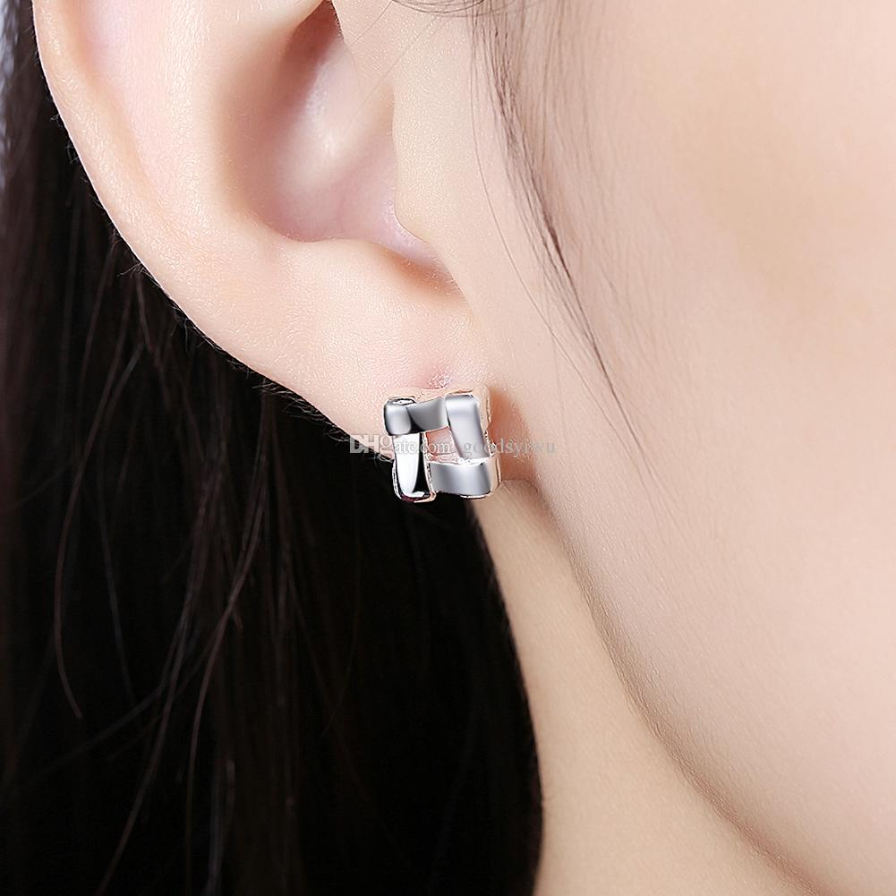 925 Silver Plated Small Charms Stud Earrings Geometry Square Earrings For Women Nice Ear Jewelry Gift E029