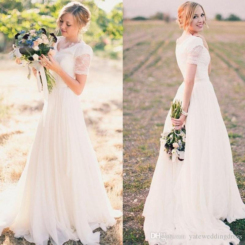 Cheap Elegant Bridal Dresses V-Neck Short T-Shirt Sleeves Simple Wedding Dresses Back Zipper Country Style Wedding Gowns Custom Made
