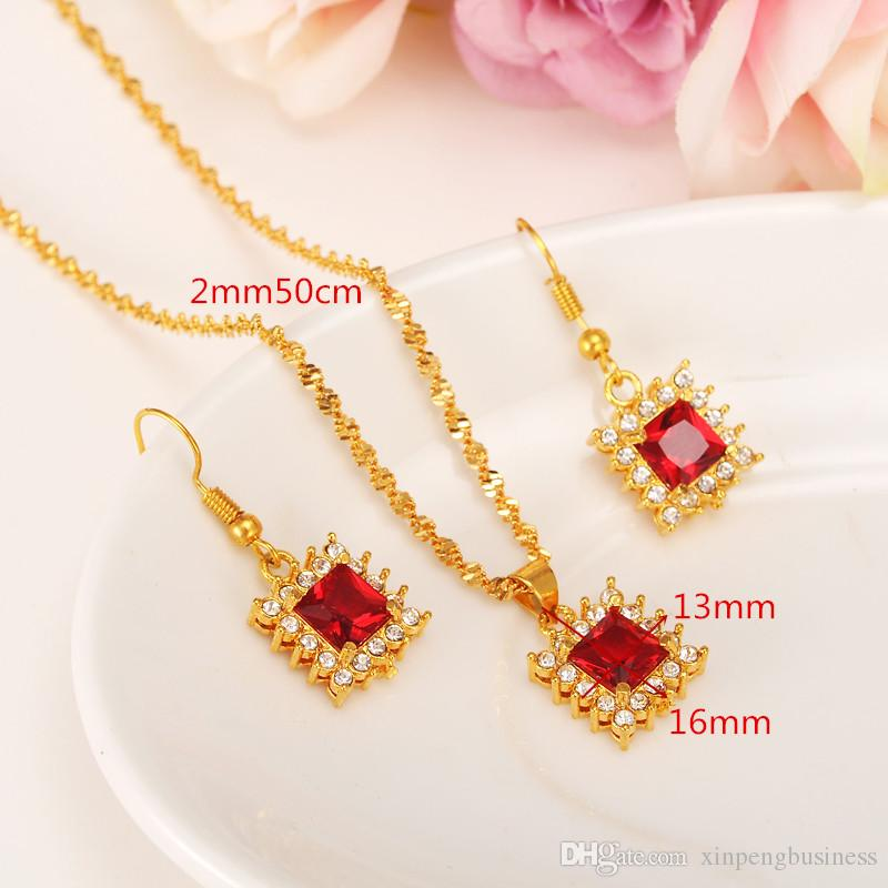 Queen New Red color square Zircon Bridal Wedding Jewelry Sets with 18k Solid Yellow Fine Golid CZ Necklaces Pendant Earring Women