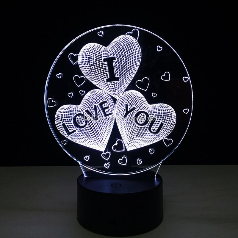 2017 Love Heart I Love You 3D Optical Lamp Night Light DC 5V USB Charging AA Battery Wholesale Dropshipping