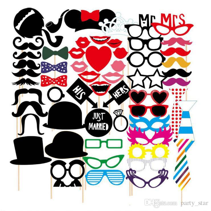 Newest Photo Booth Props Set Photo Glasses Caps Tie Pipe On A Stick Weeding Party Favor DIY Masks
