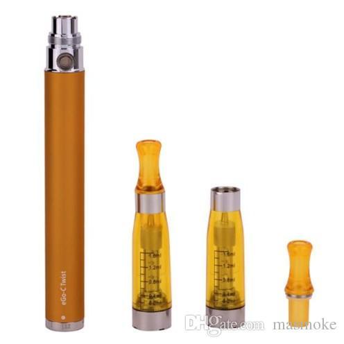 E cigarette Ego starter kit eGo-C Twist Batería ajustable CE5 sin atomizador de mecha Vapor Caja de plástico con ampolla de cigarrillo EGO-T Clearomizer