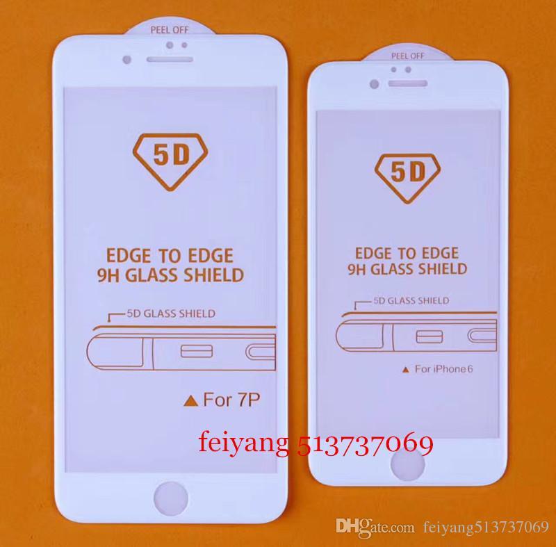 10 adet 5D Ekran Koruyucu Film iphone 6 6 s Artı Yeni 5D Soğuk Oyma Tam Kapak 9 H Yüksekliği Kaliteli Temperli Cam iphone 6 6 s 7 7 artı