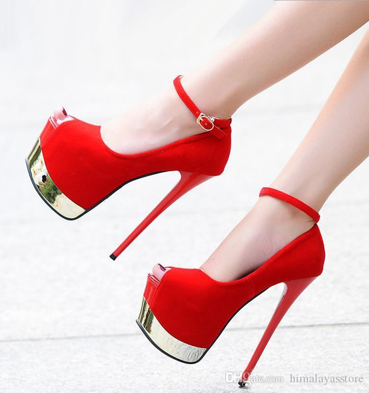 8b665bb4ea1 Sexy Red Bottom Ultra High Heels Synthetic Suede Ankle Strap Super Platform  Pumps Prom Night Club Shoes Size 34 To 39 Munro Shoes Vegan Shoes From ...