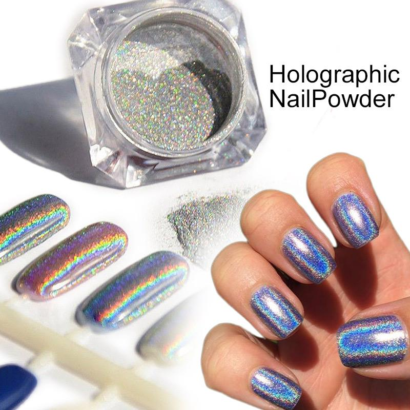 How To Use Chrome Nail Powder Without Gel: Wholesale 1 Box Holographic Laser Powder Nail Art Glitter